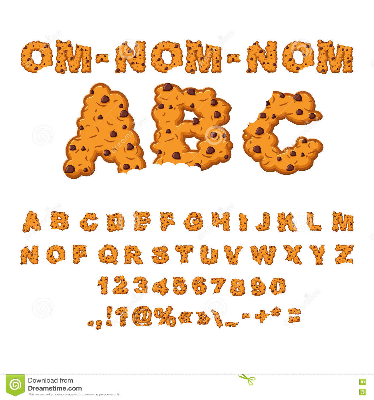 Om Nom Nom ABC  Cookies Font  Biscuits With Chocolate Stock