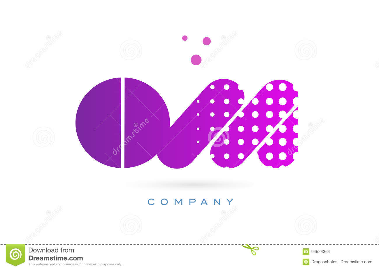 om o m pink dots letter logo alphabet icon stock vector