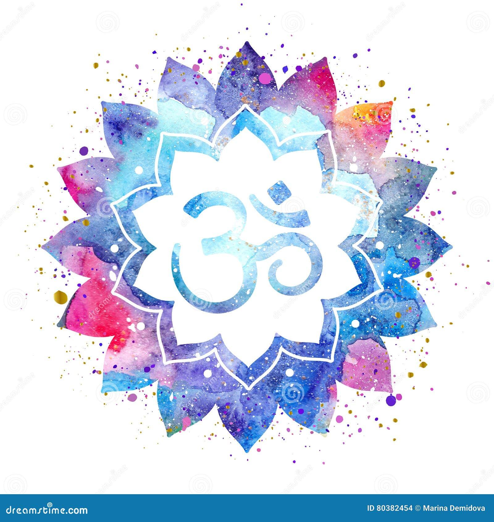 Om Sign In Lotus Flower Stock Illustration Illustration Of Indian