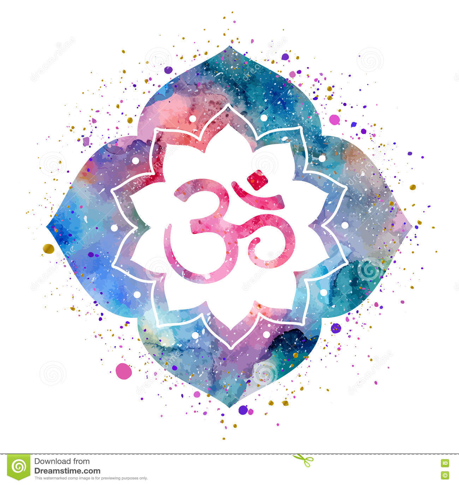 Om Sign In Lotus Flower Stock Vector Illustration Of Emblem 79795418
