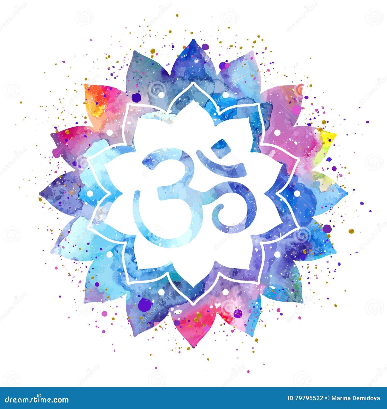 Om Sign In Lotus Flower Stock Vector Illustration Of Spray 79795522
