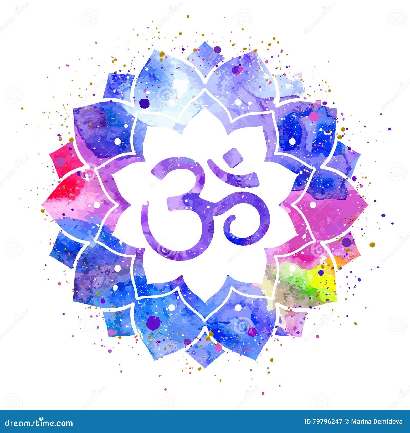 Om Sign In Lotus Flower Stock Vector Illustration Of Rainbow 79796247