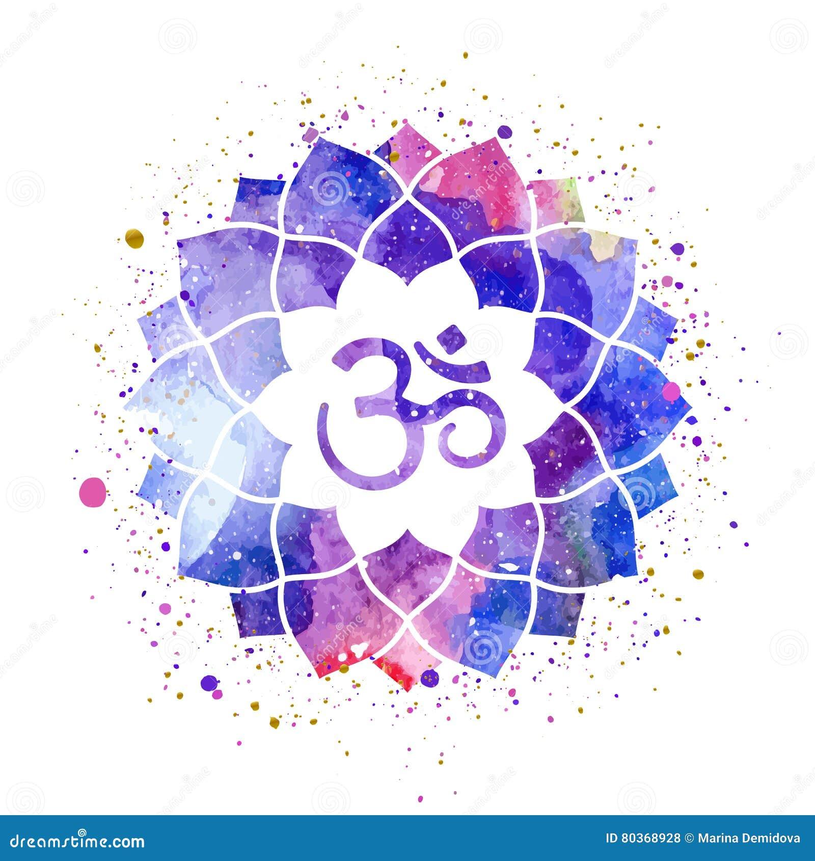 Om Sign In Lotus Flower Stock Vector Illustration Of Design 80368928
