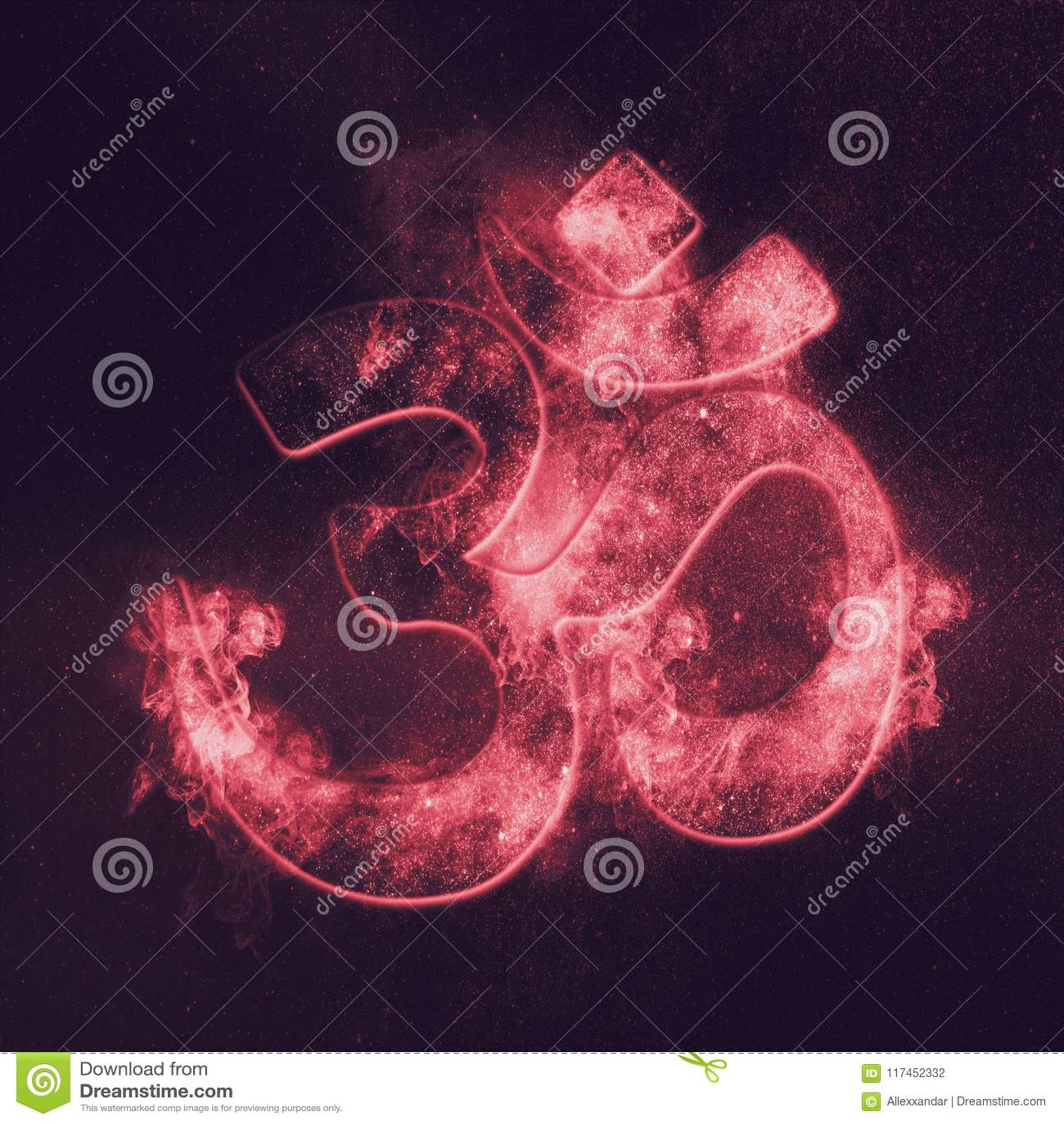 Om symbol. Hindu religion. Abstract night sky background.