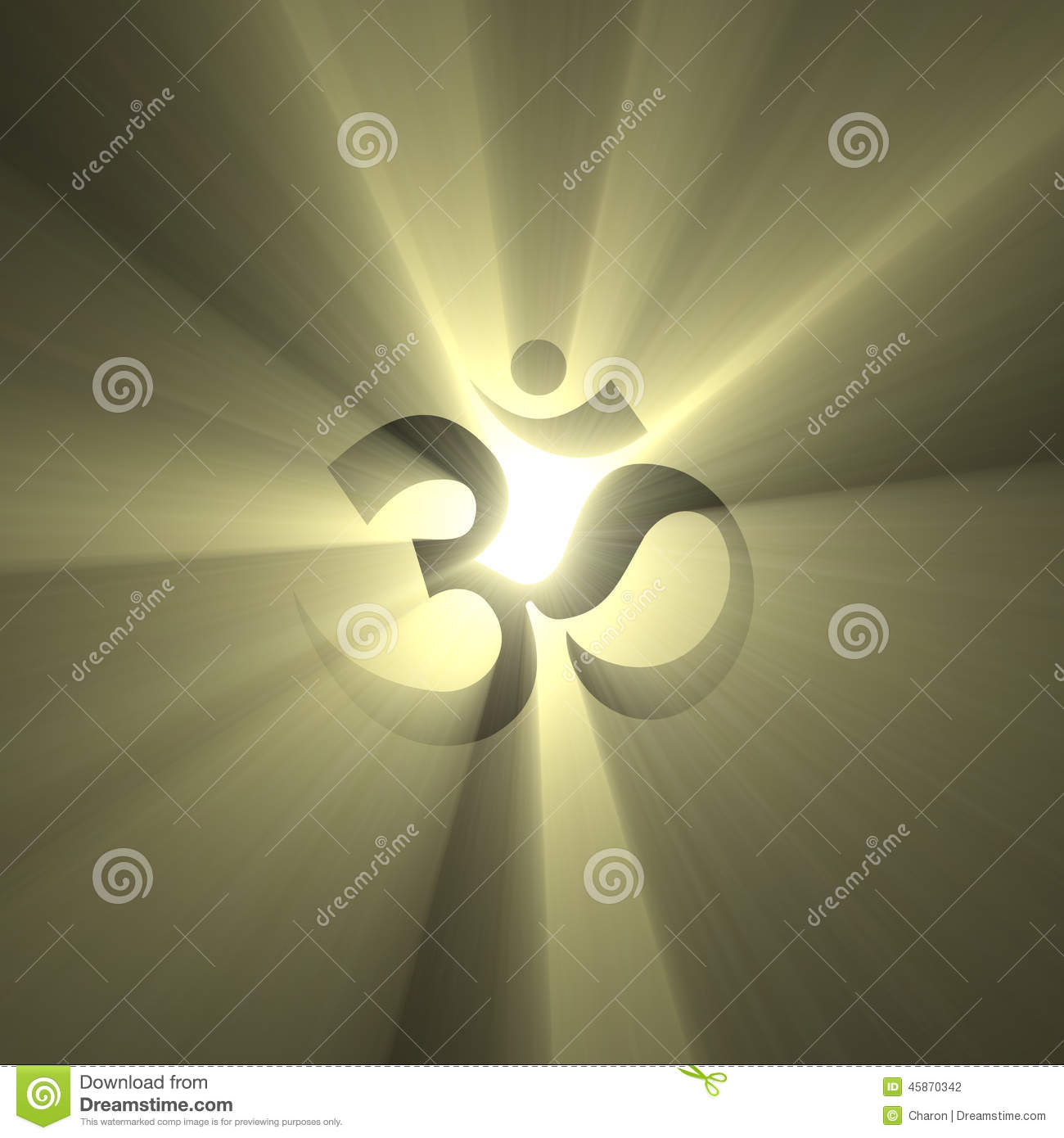 Om Symbol Shinning Light Halo Flare Stock Illustration