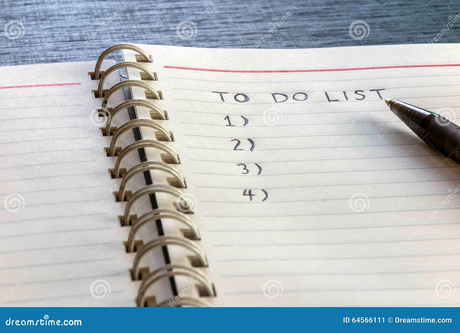 Om zich lijst, plan te doen en te organiseren