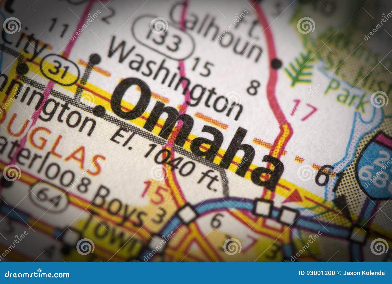 Omaha, Nebraska na mapie