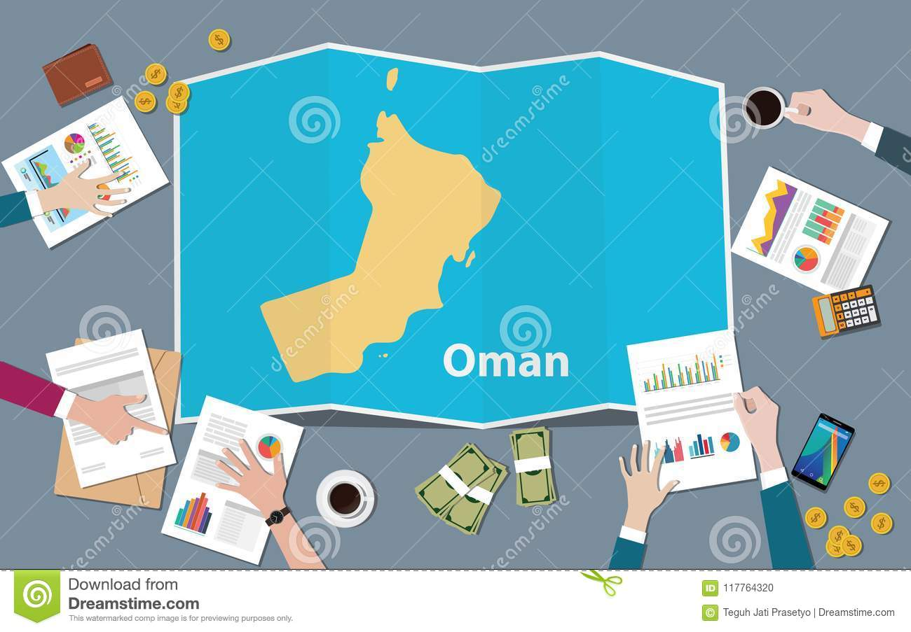 Oman Country Growth Nation Team Discuss With Fold Maps View From Top