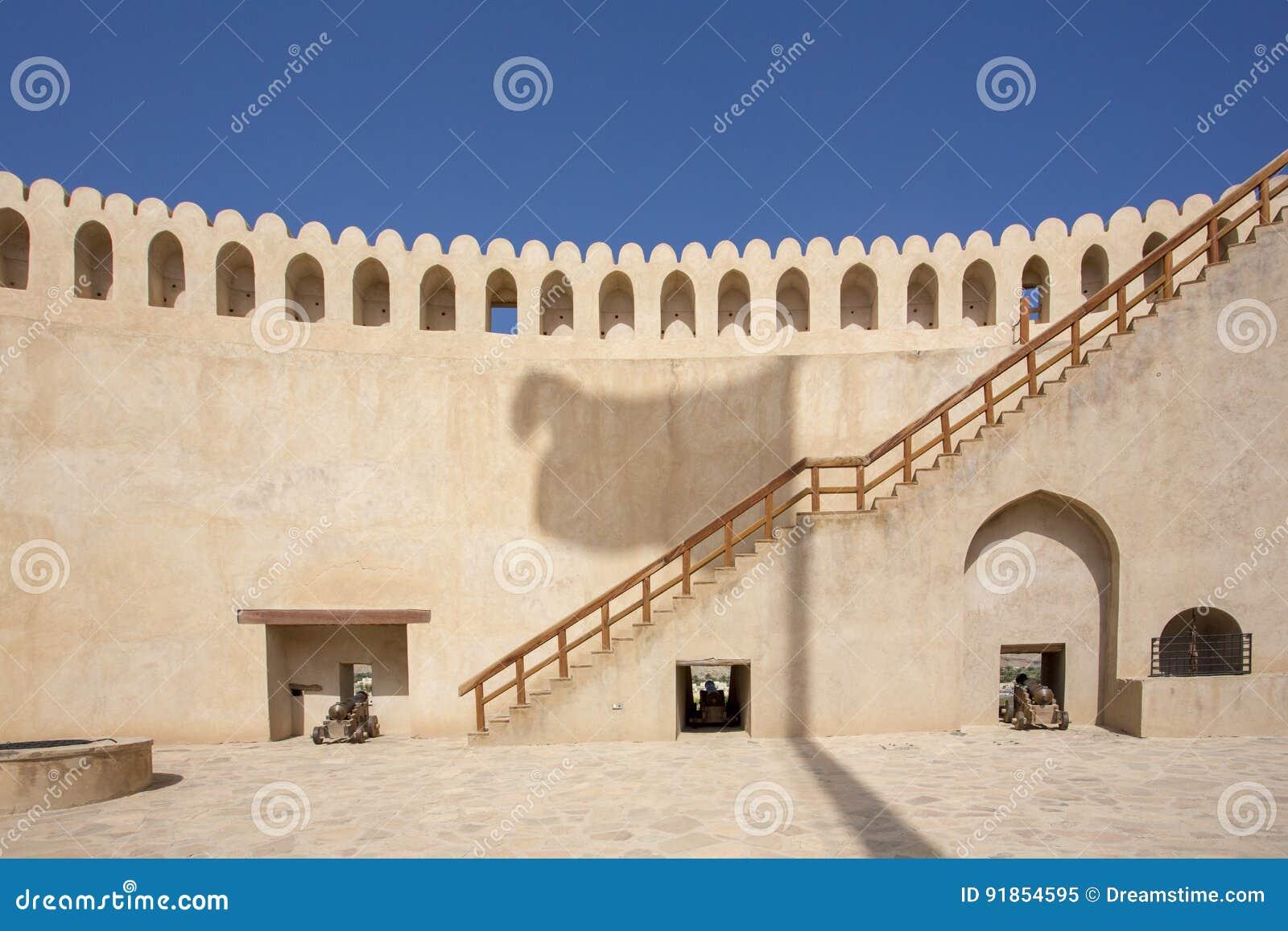 Oman flag Shadow on Nizwa castle