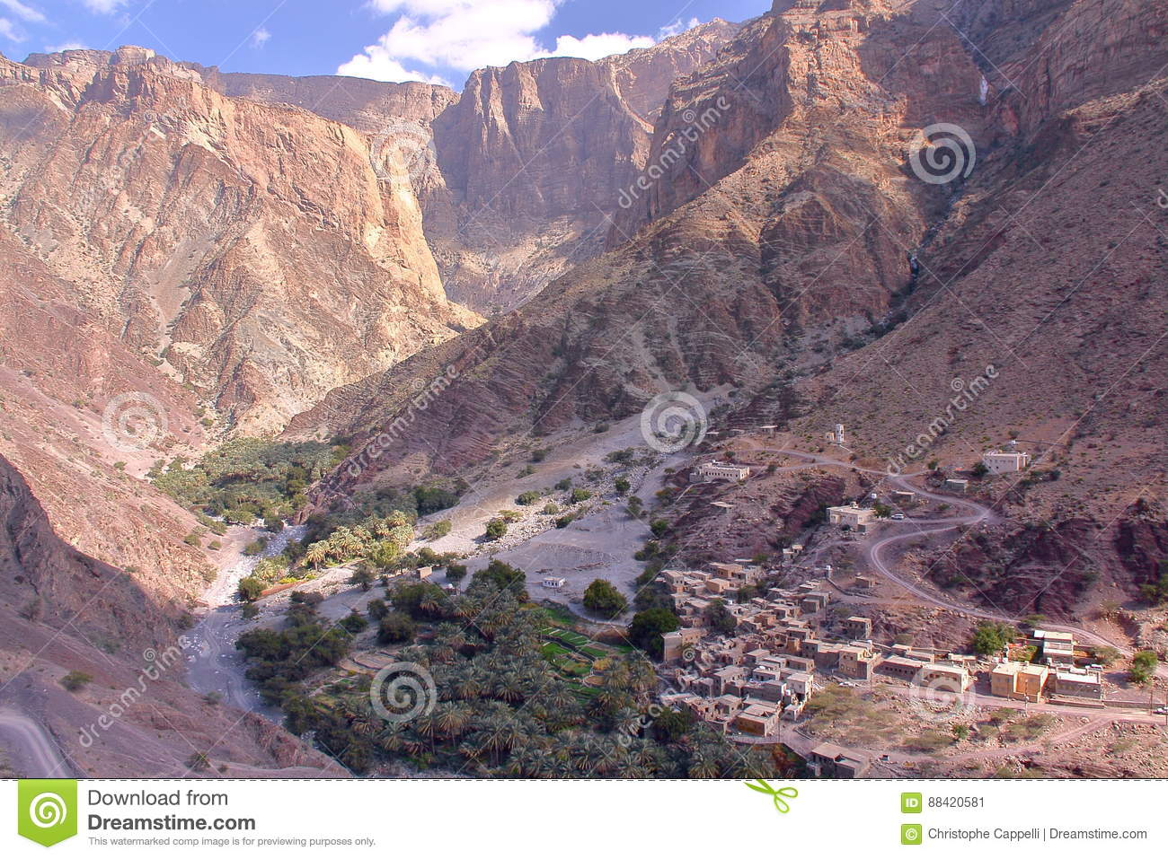 OMAN: General view of the mountains and a village in Jebel Akhdar Western Hajar