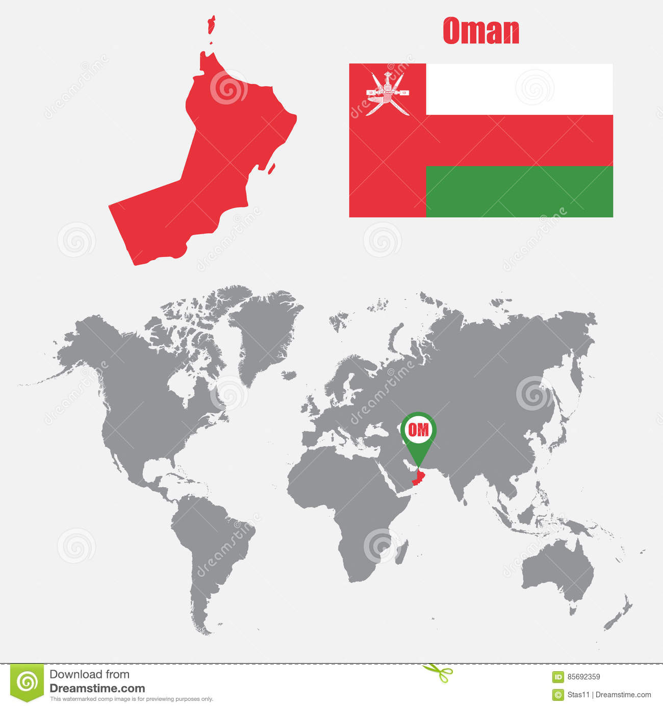 Oman Map On A World Map With Flag And Map Pointer Vector - Oman in world map