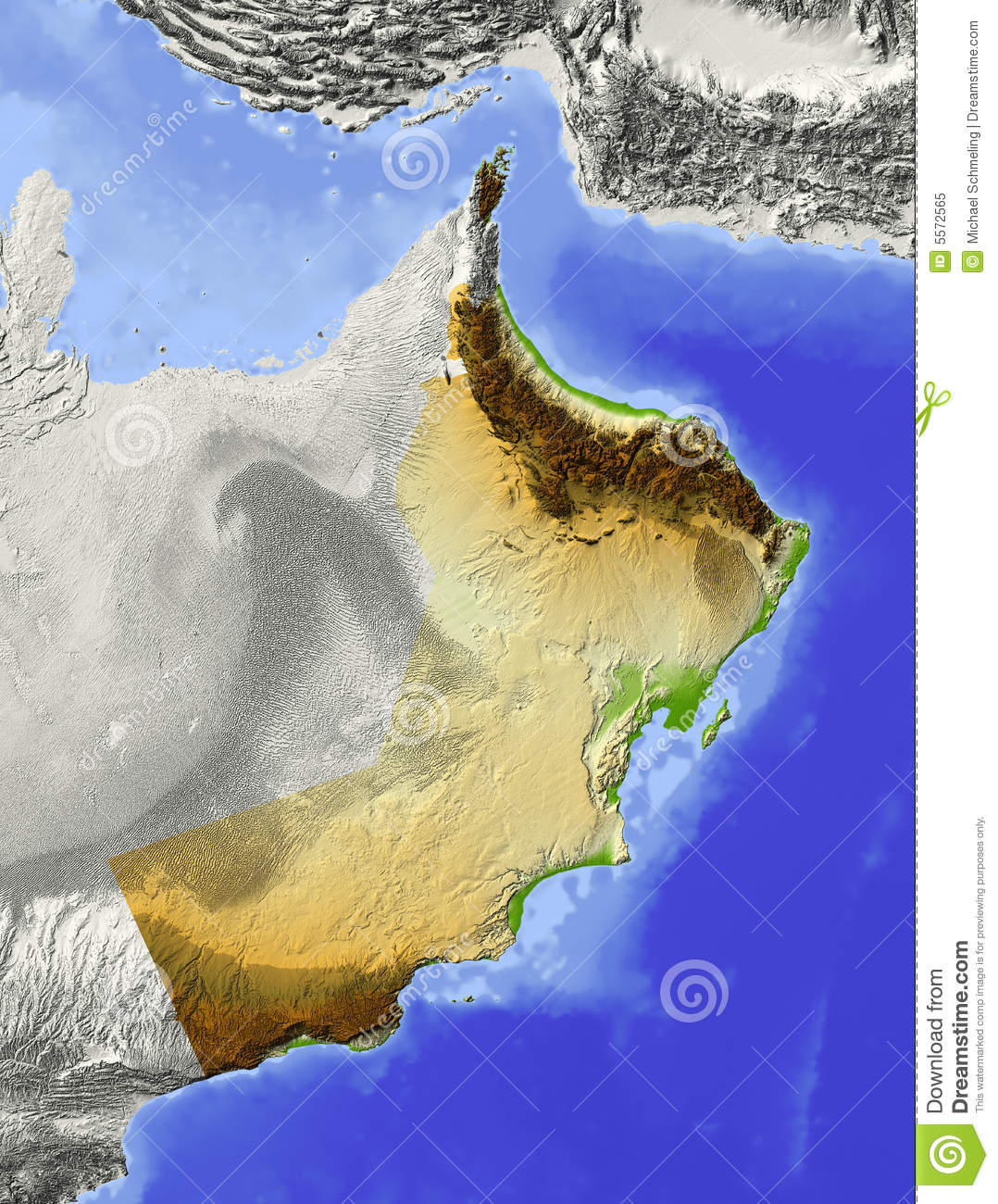 Oman relief map stock illustration Illustration of earth 5572565