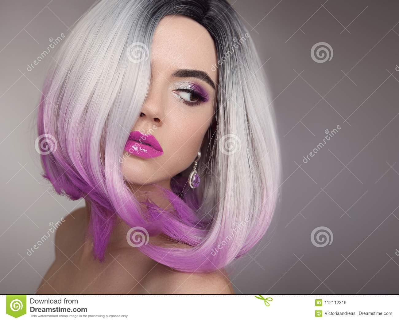 Ombre Bob Blonde Short Hairstyle Purple Makeup Beautiful Hair