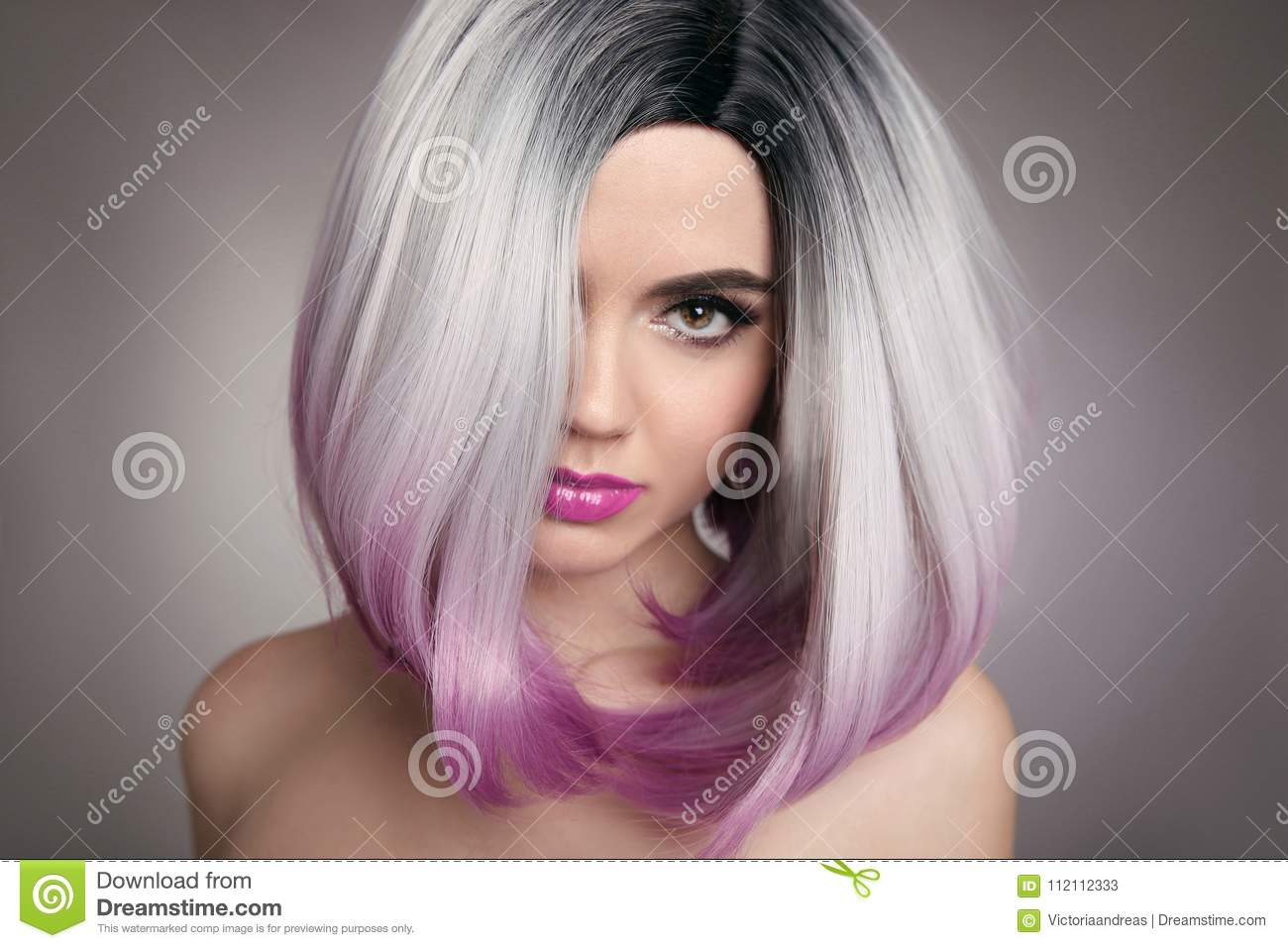 Ombre Bob Hairstyle Blonde Girl Portrait Purple Makeup Beautif