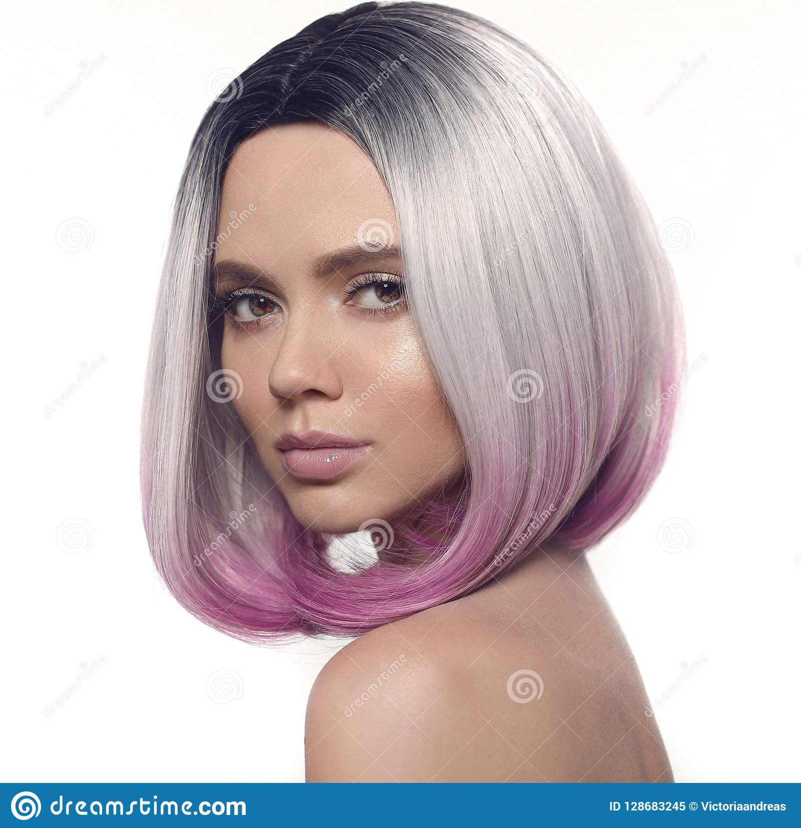 Ombre Bob Hairstyle Girl Portrait Beautiful Short Hair Coloring
