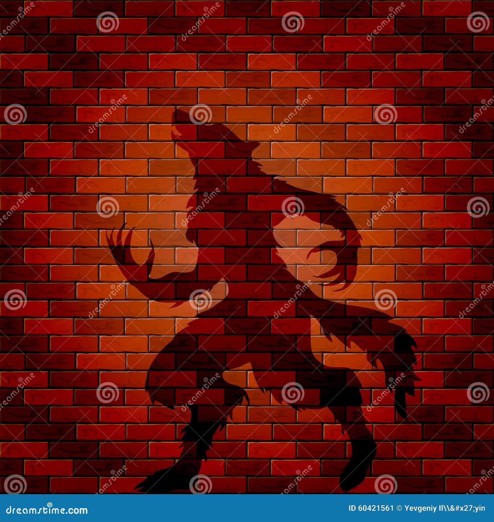 ombre de loup garou sur un mur de briques illustration de vecteur illustration du horreur. Black Bedroom Furniture Sets. Home Design Ideas