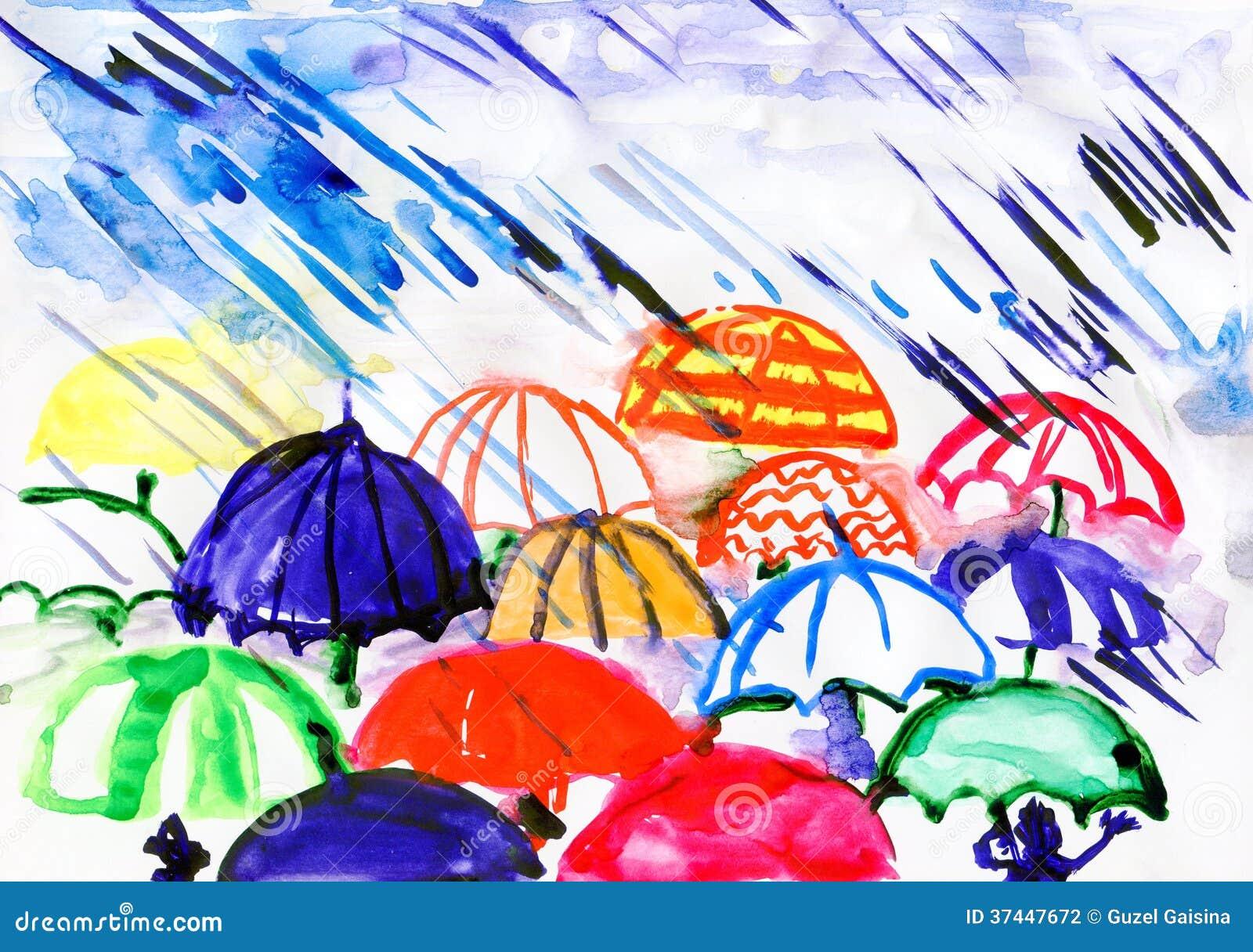 Ombrelli sotto pioggia fotografia stock immagine 37447672 for Sotto la pioggia ombrelli