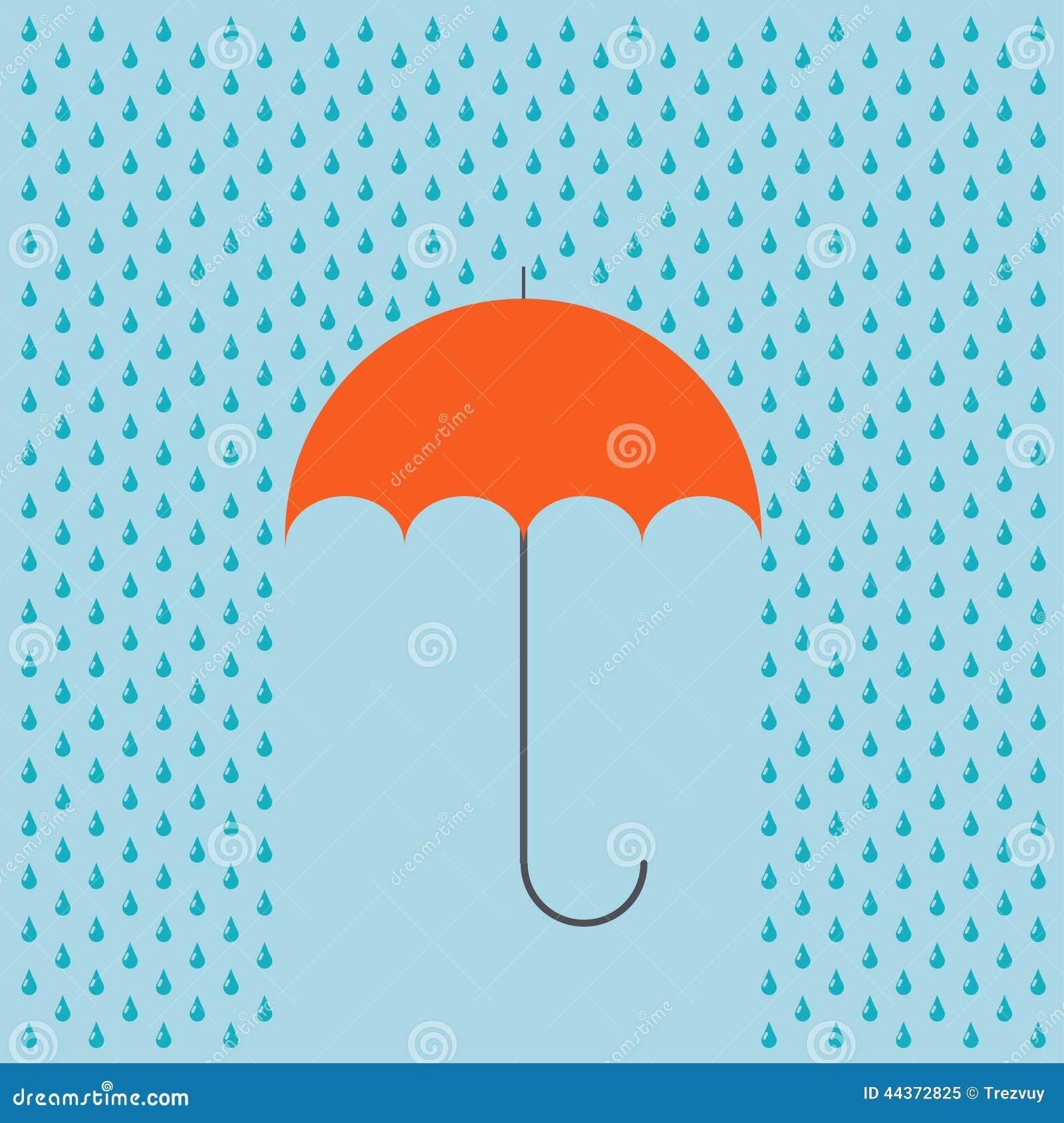 Ombrello moderno di vettore con il fondo della pioggia