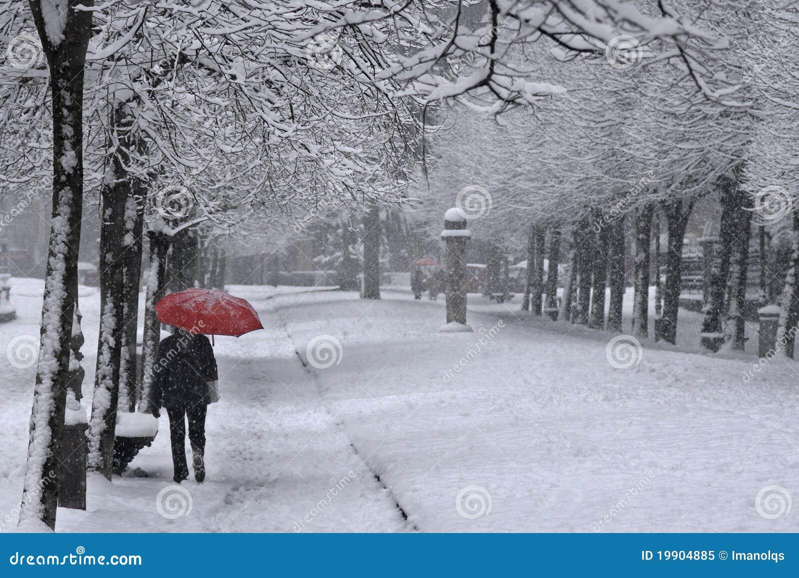 Ombrello Rosso Sotto La Neve Immagine Stock Immagine Di