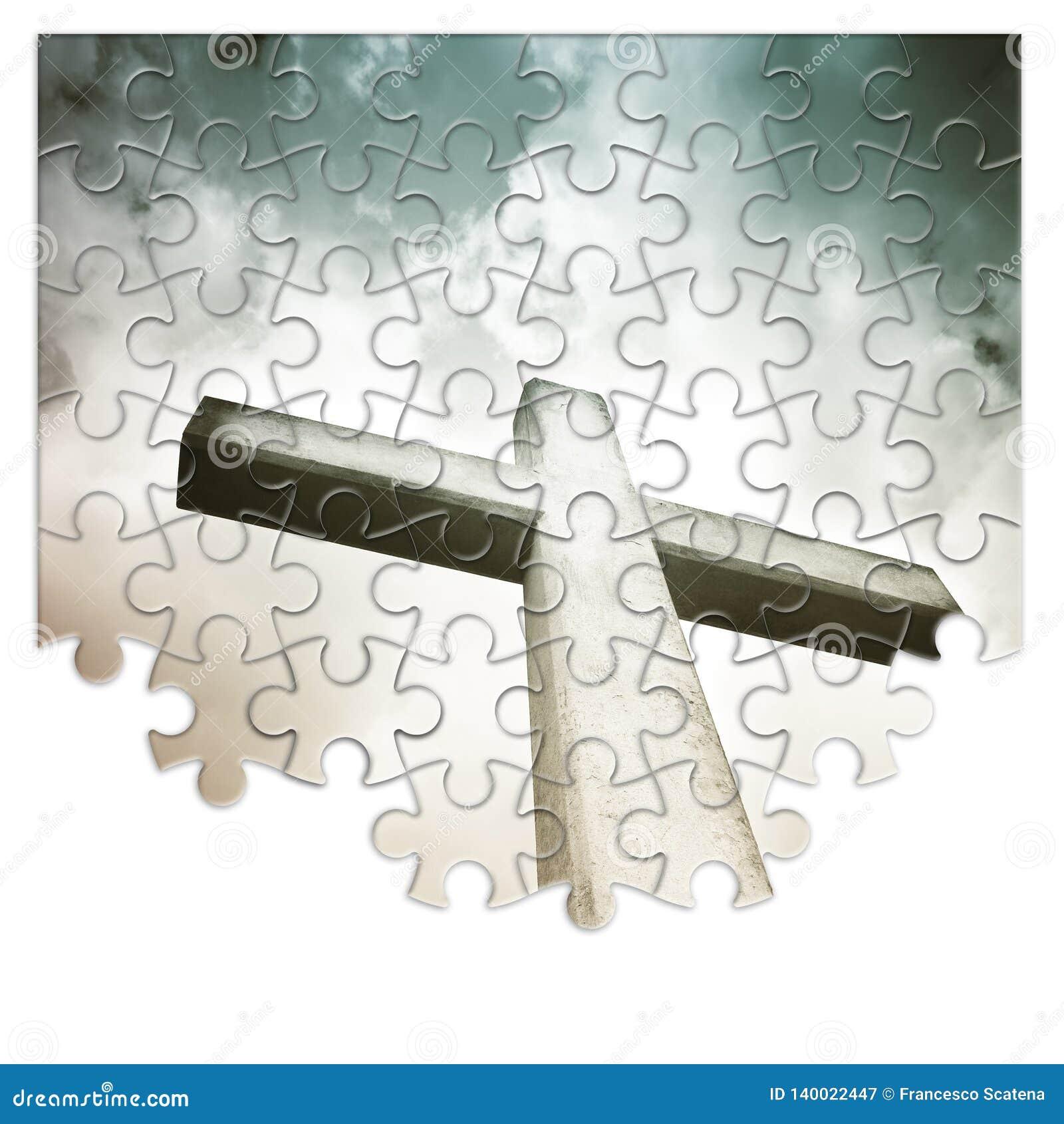 Ombyggnad eller förlora vår tro - kristen arg begreppsbild i pusselform