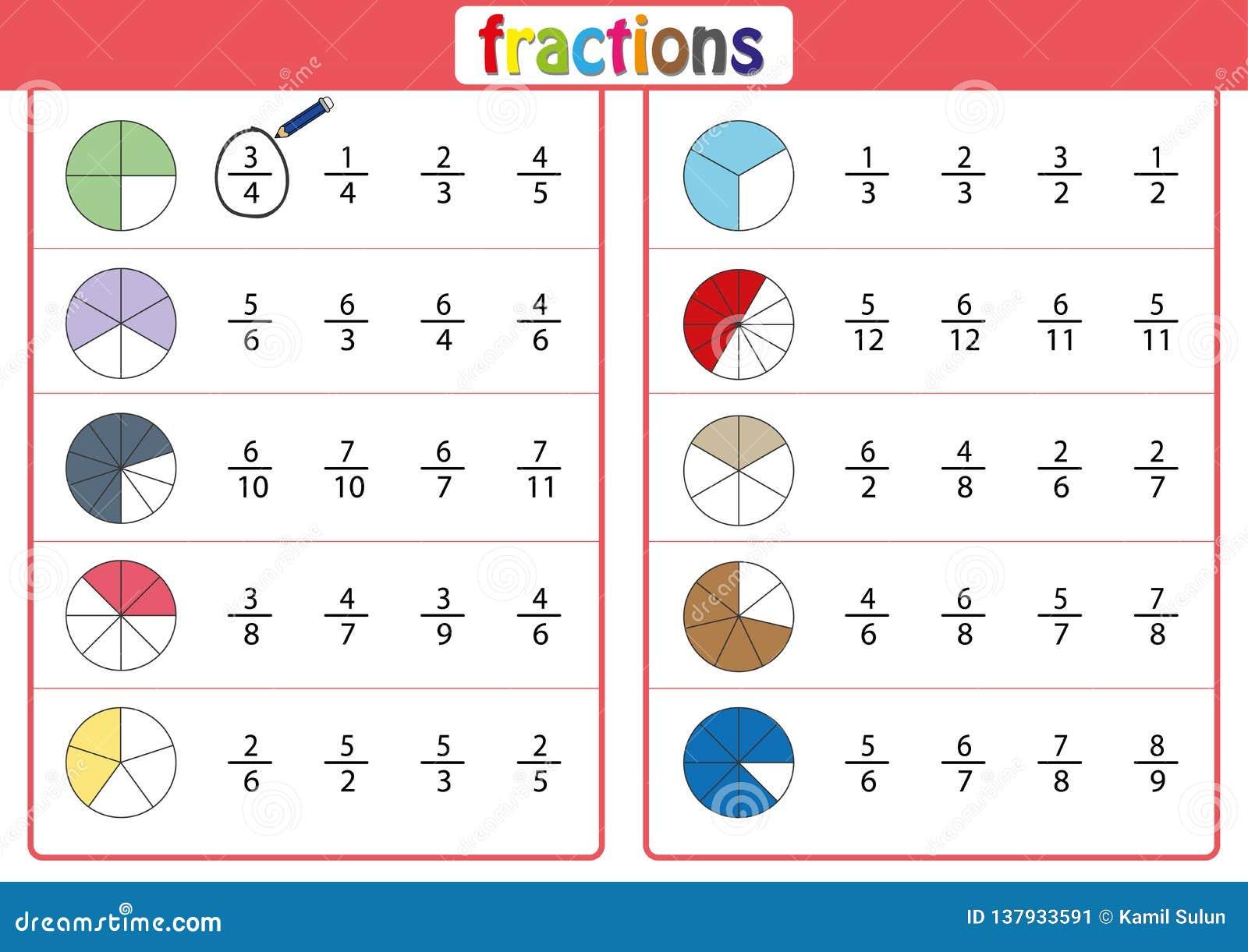 Omcirkel de correcte fractie, Wiskunde, wiskundeaantekenvel