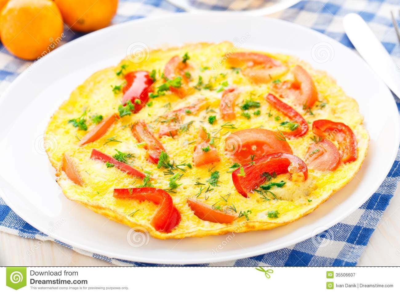 Omelet With Paprika, Tomato And Herbs Stock Image - Image ...