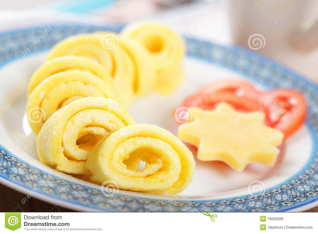 Omelet Roll With Cheese And Tomato Royalty Free Stock ...
