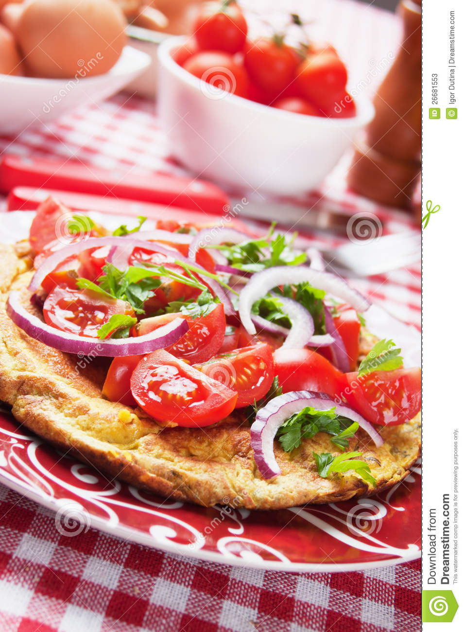 Omelet With Tomato Salad Stock Photos - Image: 26681553