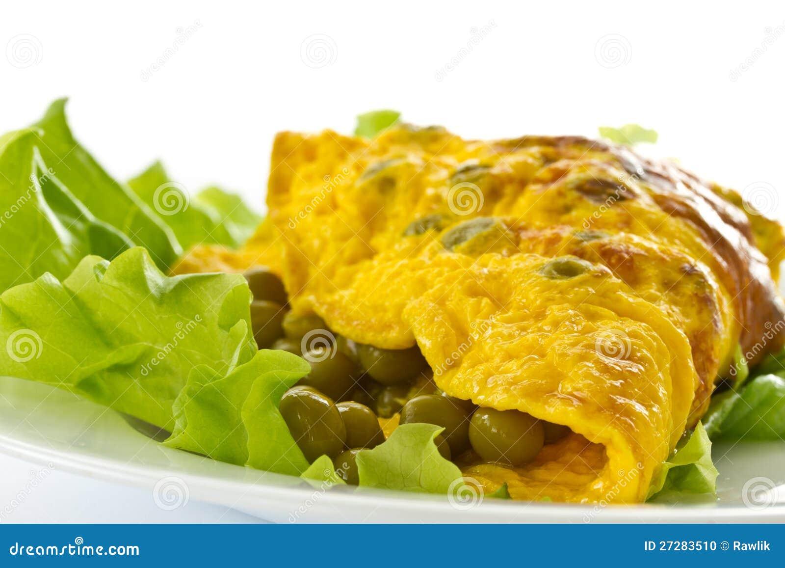 Omelett med gröna ärtor