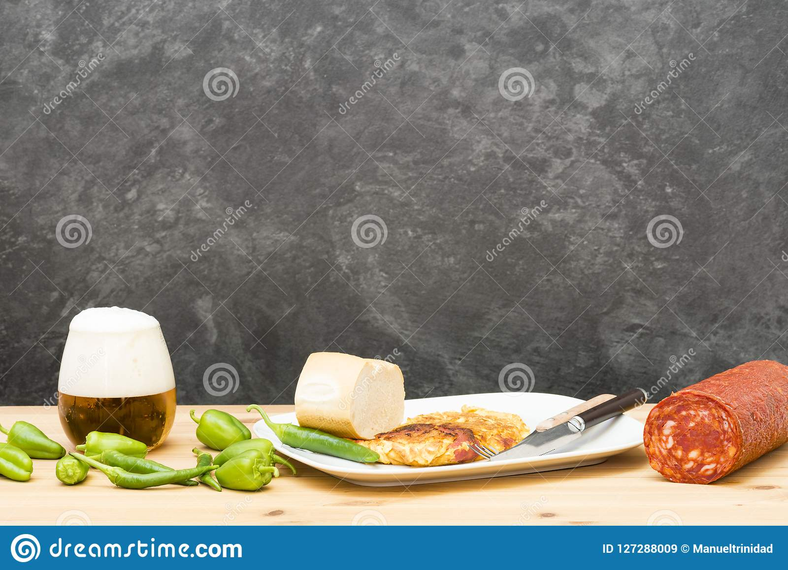 Omelette stuffed with chorizo