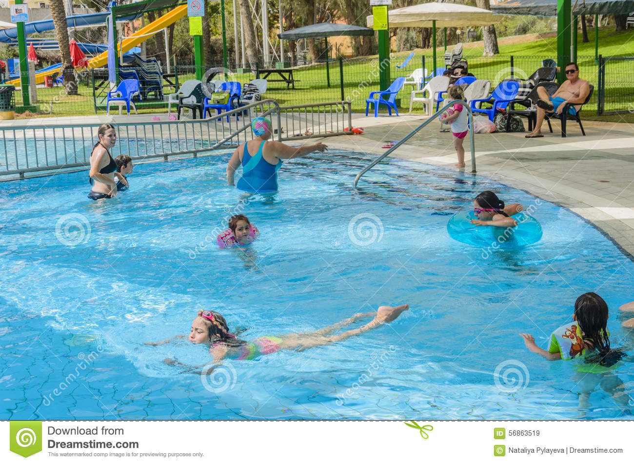 Omer Israel June 27 People Swim In The Outdoor Pool