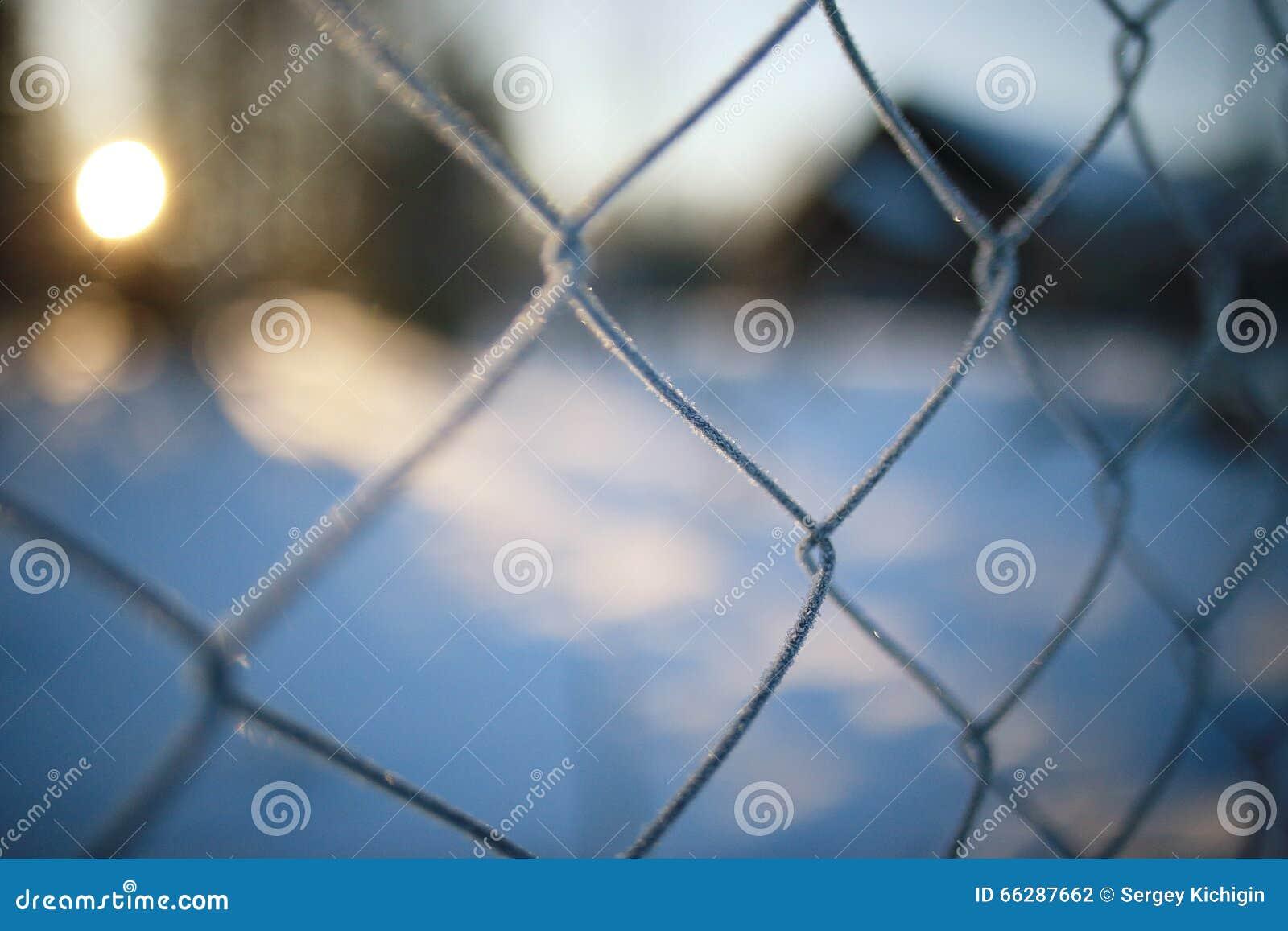 Omheining op de winterachtergrond