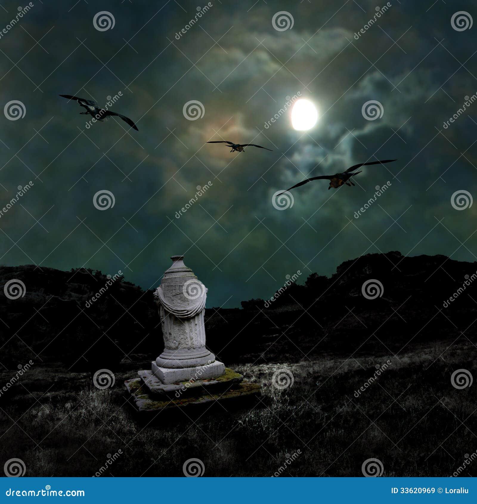 Ominous dark night in the dim moonlight
