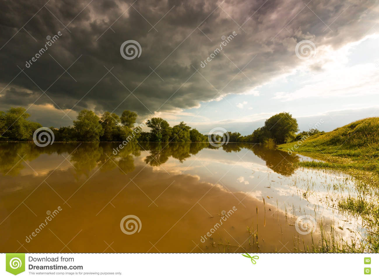 Ominous stormy sky over natural river