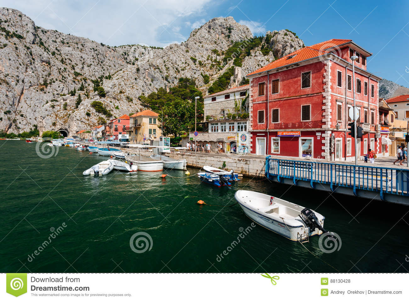 Omis, Croatia - July, 2016 - View from the bridge in the town of Omis in the historical part of the city in Croatia