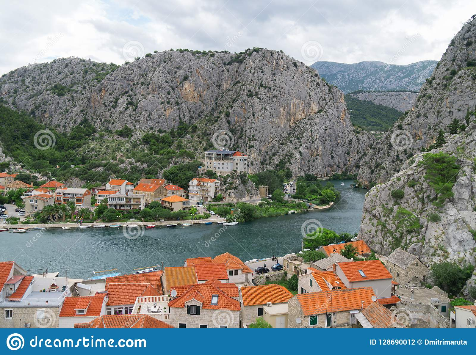 Omis town and Cetina river.