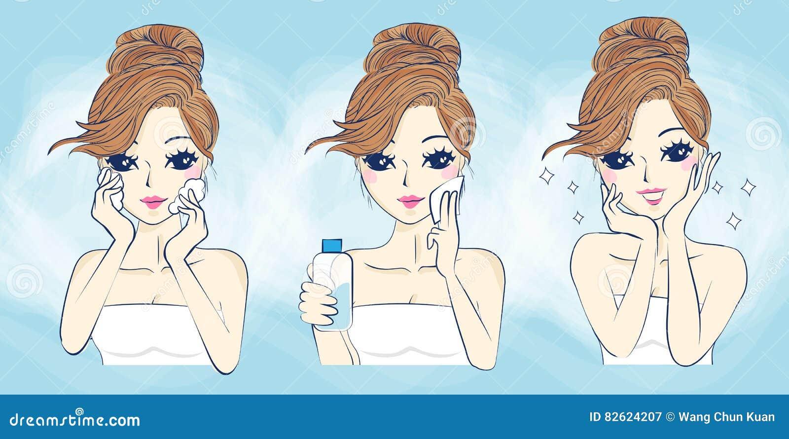 Omsorg för hud för tecknad filmkvinnaproblem