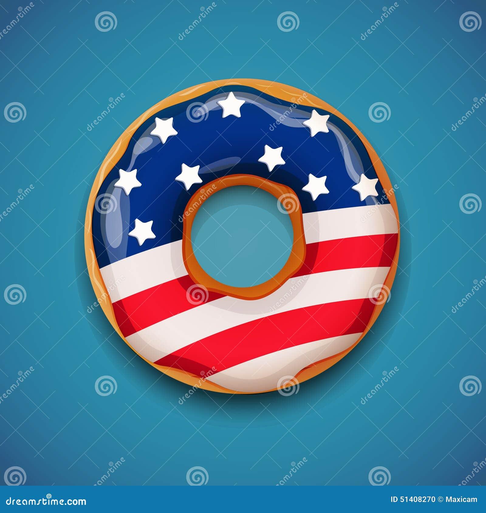 Onafhankelijkheidsdag Doughnut Met Vlag Van De V S