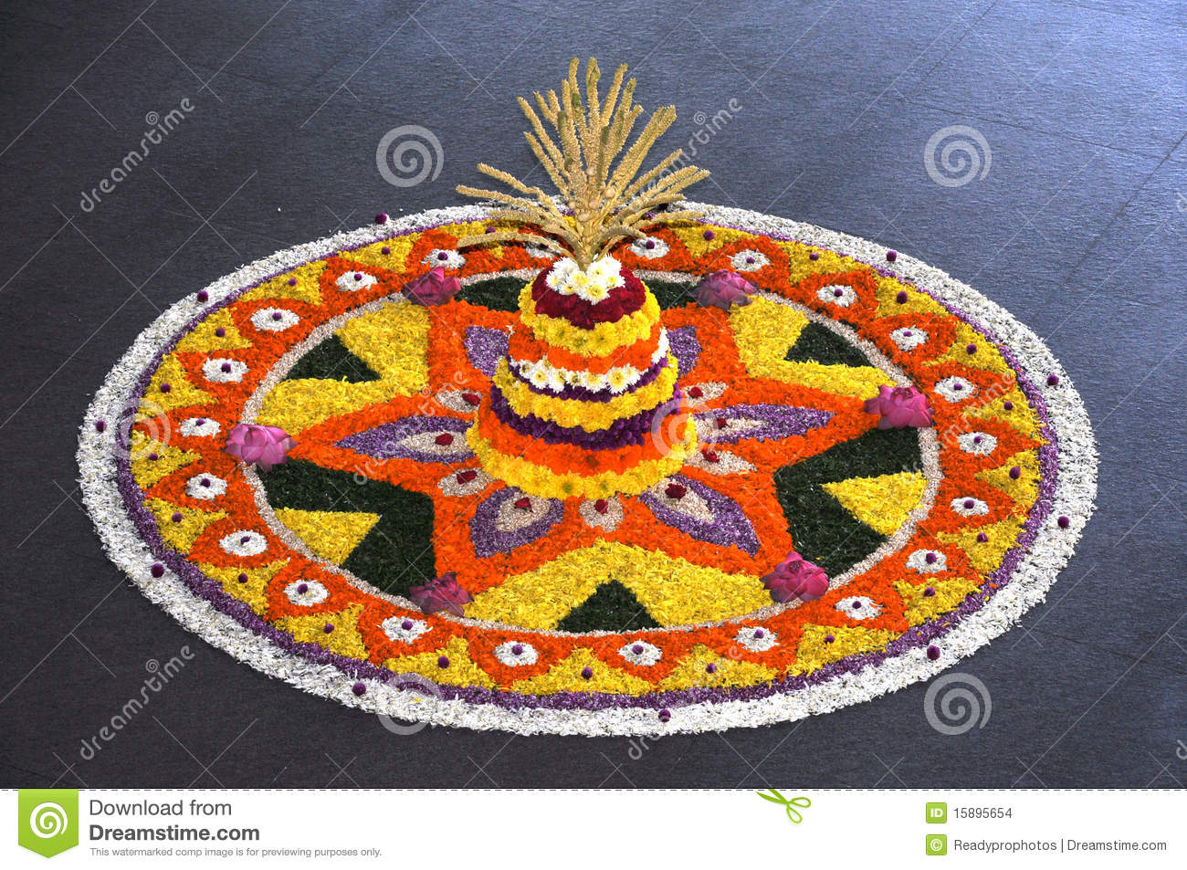 Onam flower decoration stock images image 15895654 for Photo decoration