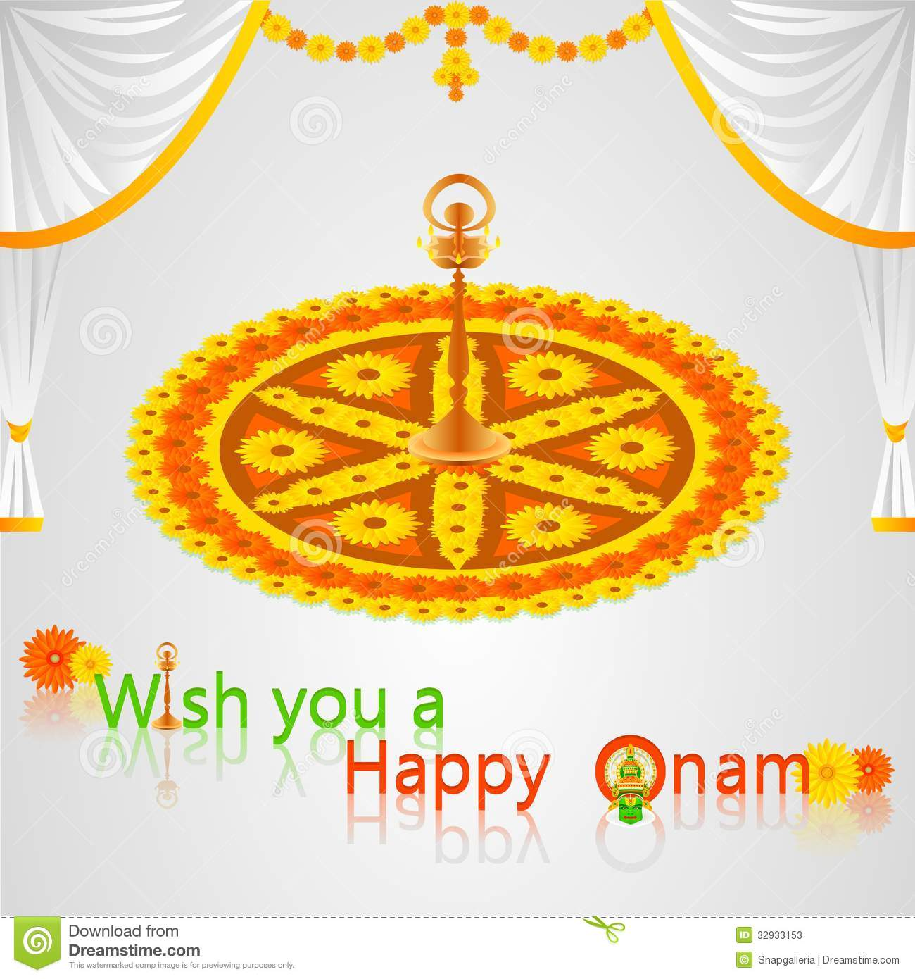 Onam Greetings Stock Vector Illustration Of Onam Decorated 32933153