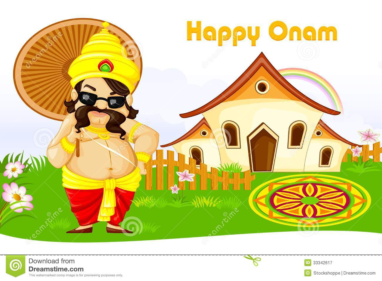 Onam Greetings Stock Vector Illustration Of Holiday 33342617