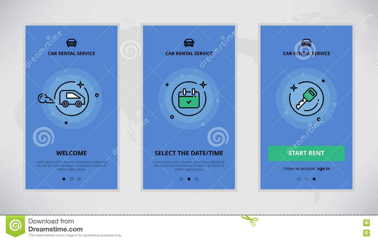 Onboarding Design Concept For Car Rental Service Stock Illustration