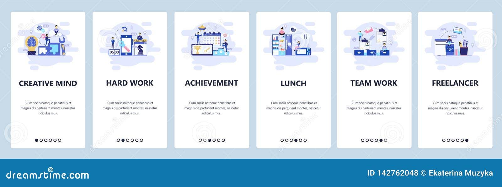 Onboarding Schirme des mobilen App Geschäftsführung, Teamwork, Mittagspause, Freiberufler und Büro Menüvektorfahne