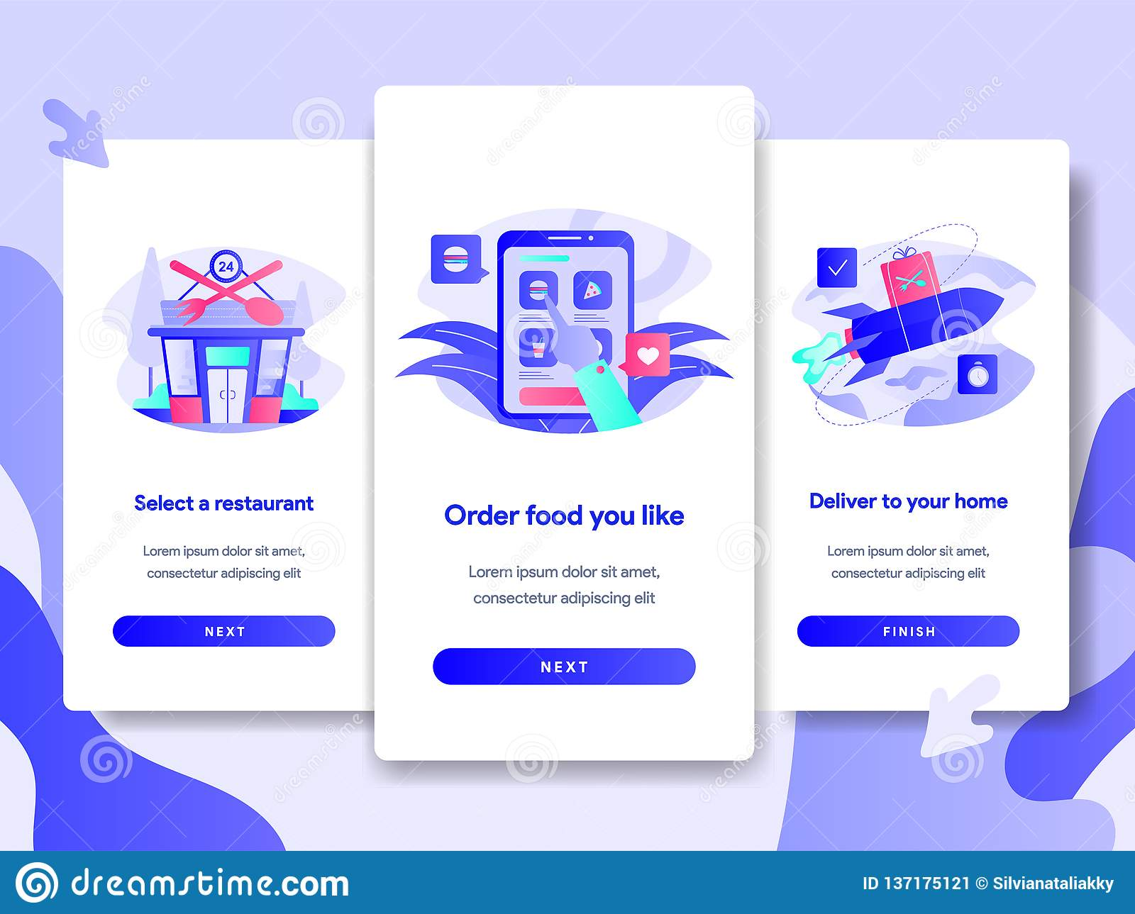 Onboarding screen page template of Online Food Delivery Concept. Modern flat design concept of web page design for website and