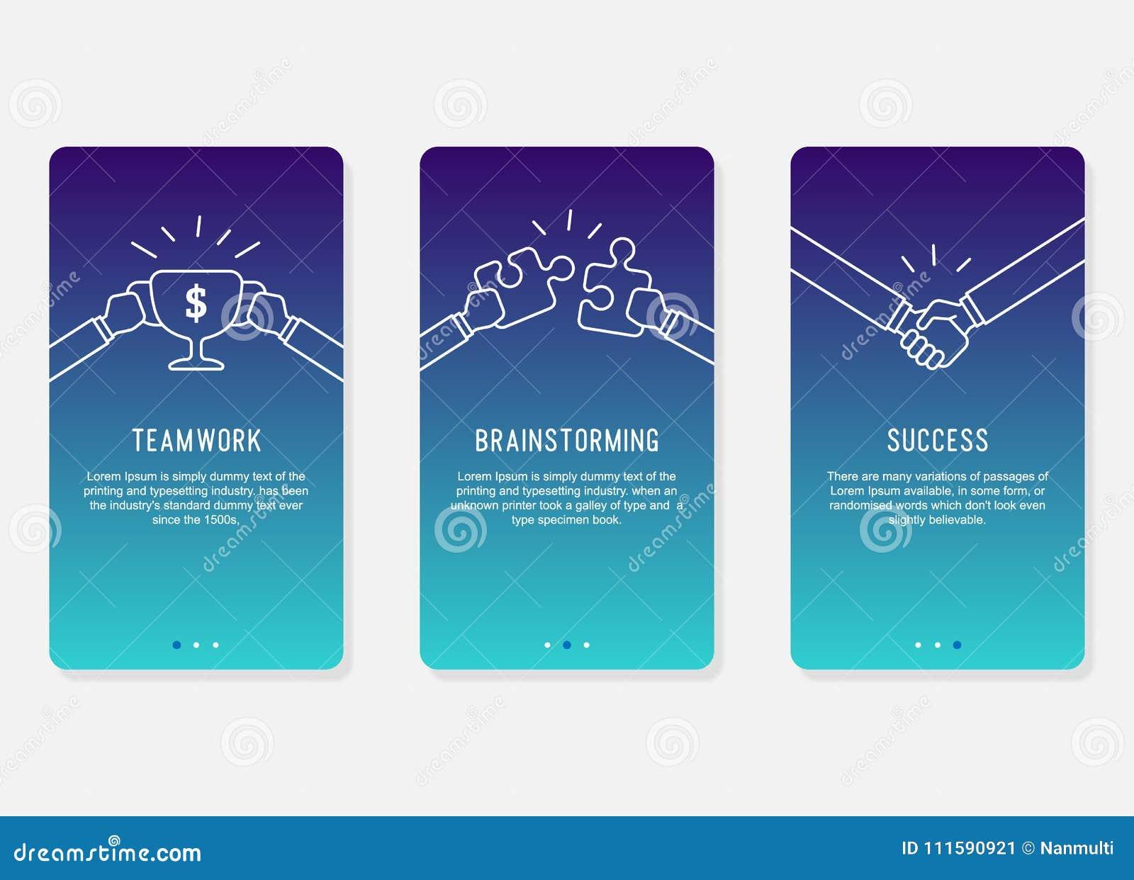 Onboarding skärmdesign i begrepp för affärsframgång Modern minsta och förenklad illustration, mall för mobila apps