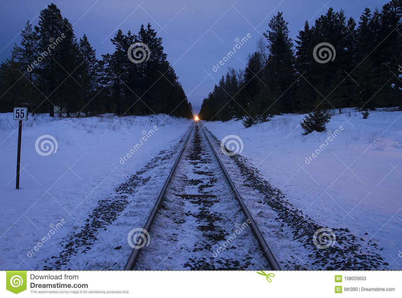 An Oncoming Train Through A Winter Landscape Stock Image Of Head Lights For Model Trains