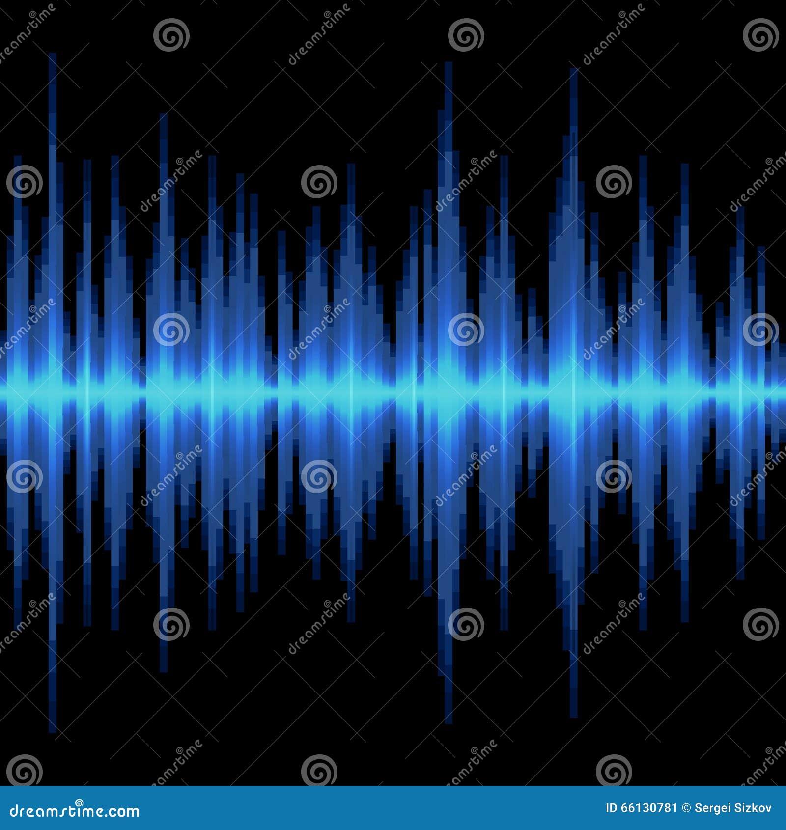 Onda acústica azul en fondo negro Vector