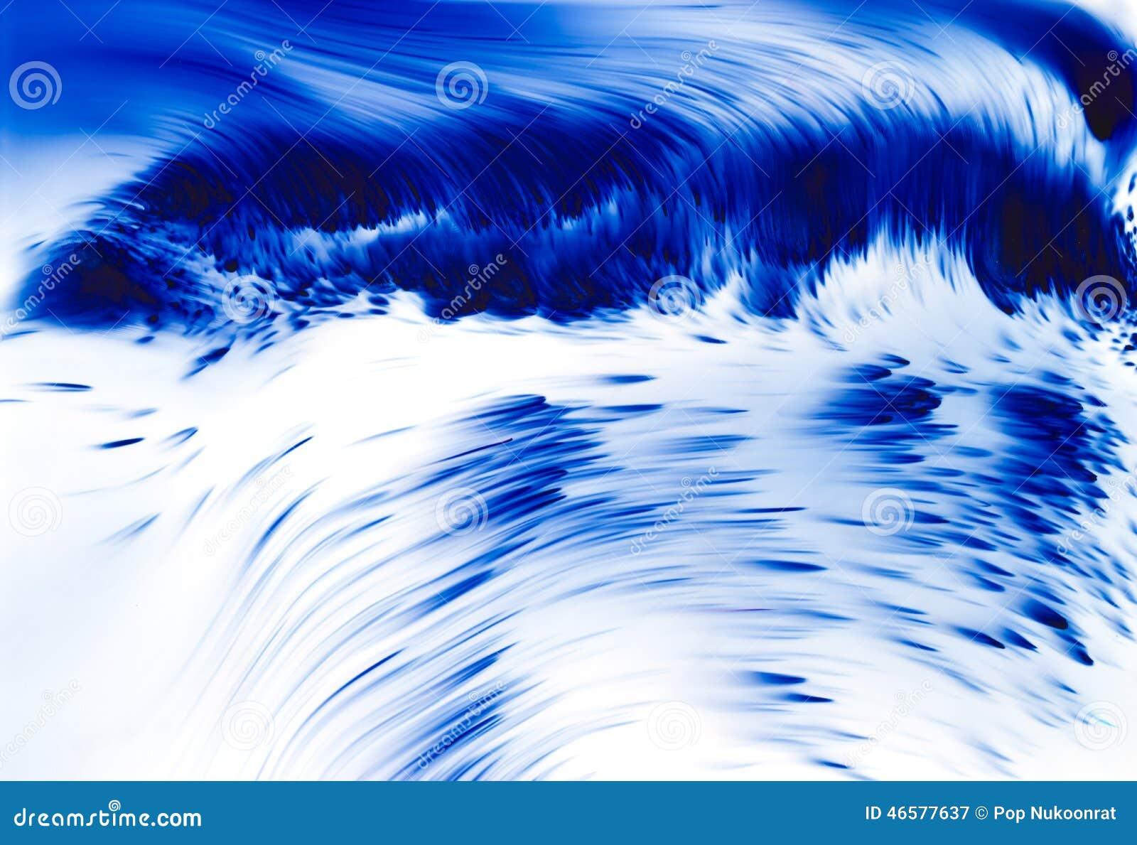 Onda azul no mar, no conceito abstrato do fundo, do delicado e do borrão