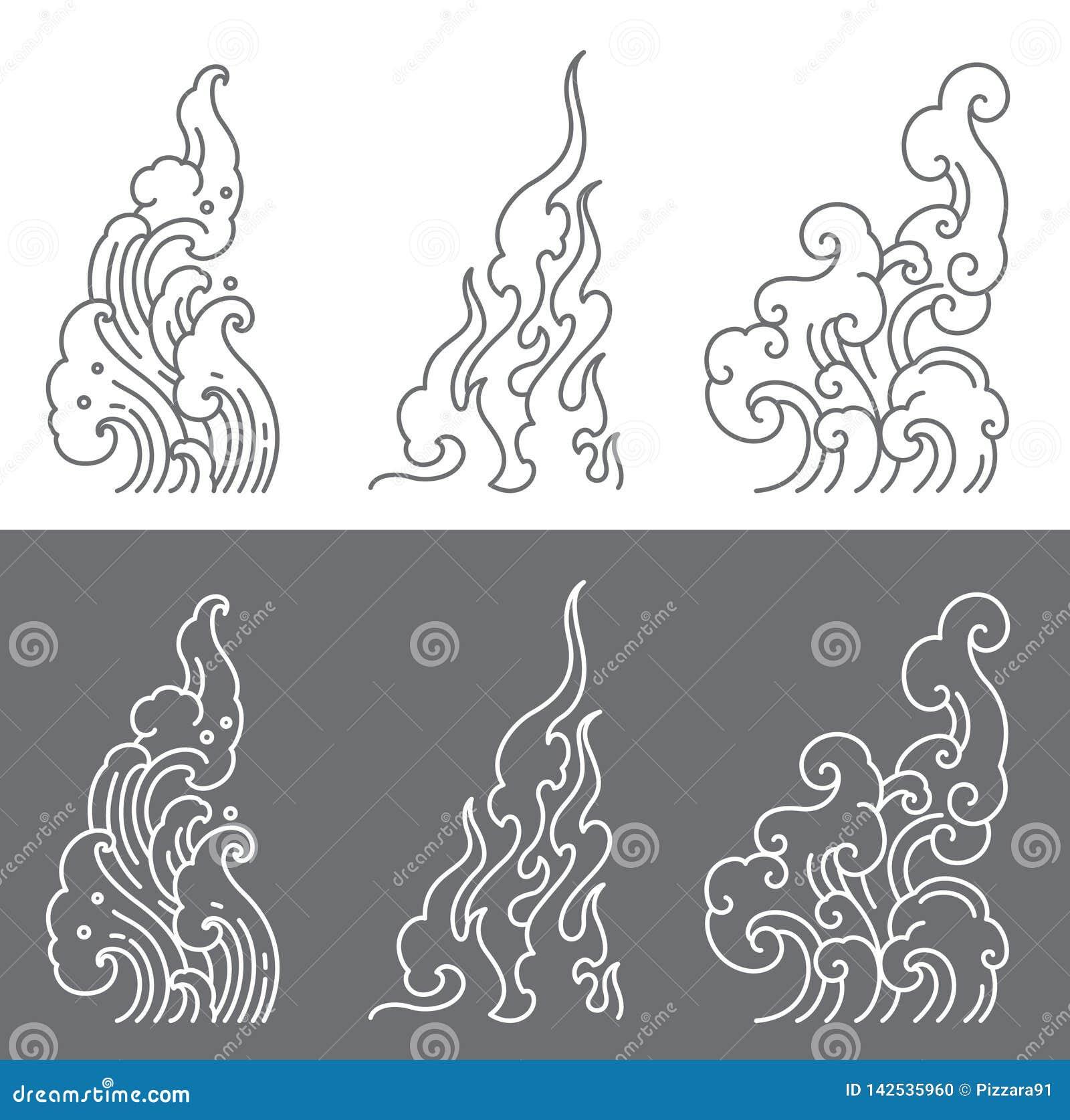 Onda de agua, fuego, l?nea vector de la nube Reglas de la forma del tri?ngulo de arte tailand?s