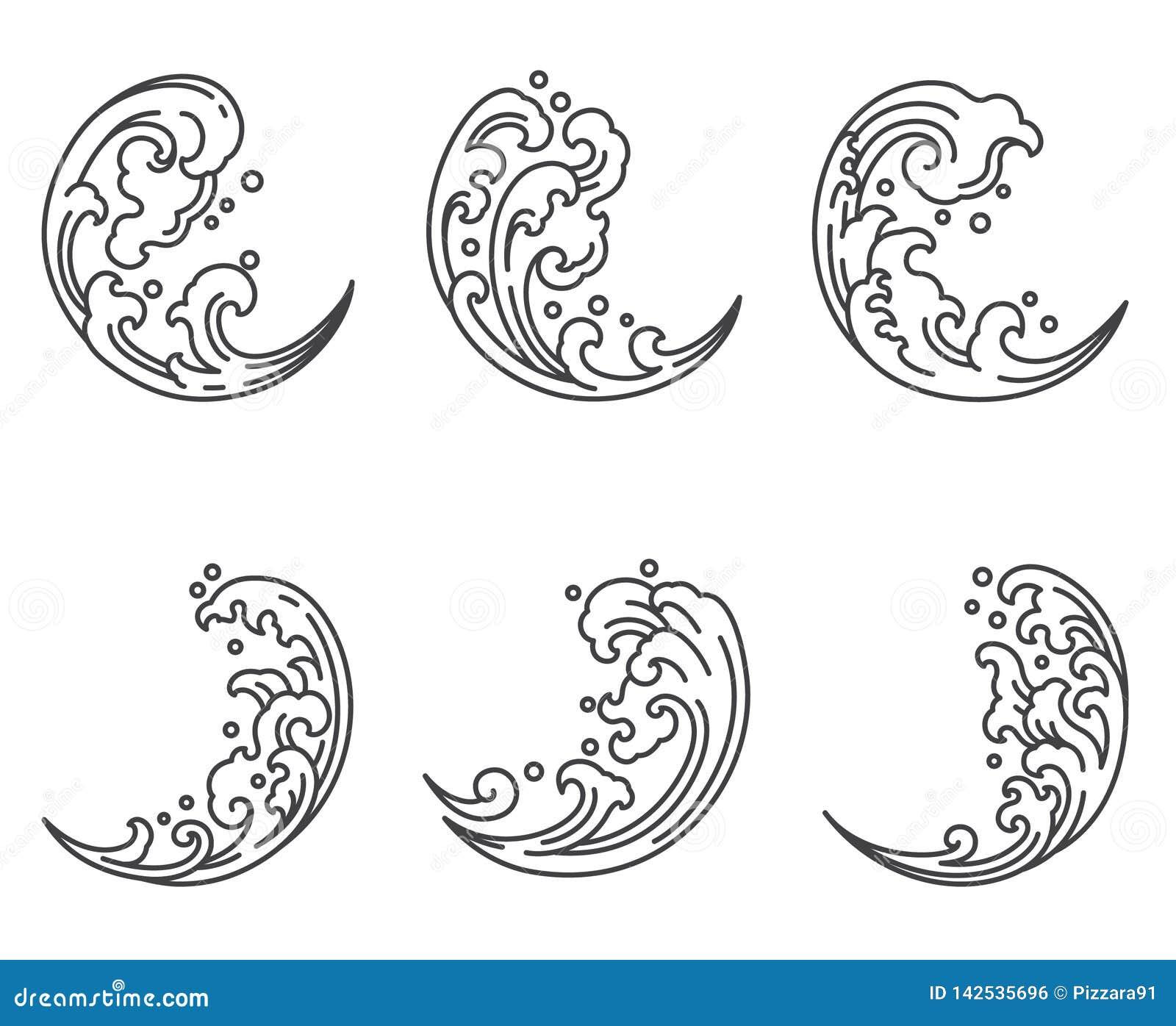 Onda de agua oriental en icono de la forma de la media luna japonés tailandés